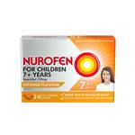 Nurofen For Children 7+ Pain and Fever Relief Chewable Capsules 100mg Ibuprofen Orange 24 pack