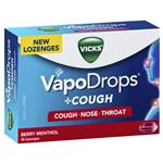 Vicks VapoDrops + Cough Berry Menthol 36 Lozenges
