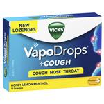 Vicks VapoDrops + Cough Honey Lemon Menthol 16 Lozenges