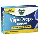 Vicks VapoDrops + Cough Honey Lemon Menthol 36 Lozenges