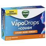 Vicks VapoDrops + Cough Orange Menthol 36 Lozenges