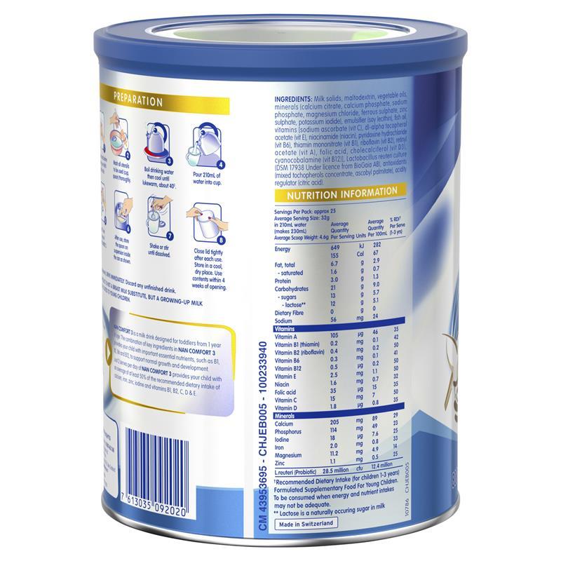 Hộp Sữa Bột Nestle Nan Comfort Số 3 800g Úc 15/10/2021