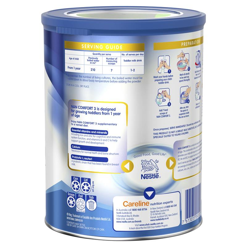Hộp Sữa Bột Nestle Nan Comfort Số 3 800g Úc