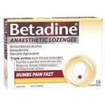 Betadine Anaesthetic Lozenges Honey & Lemon Flavour 16 Pack - Sore Throat Lozenges
