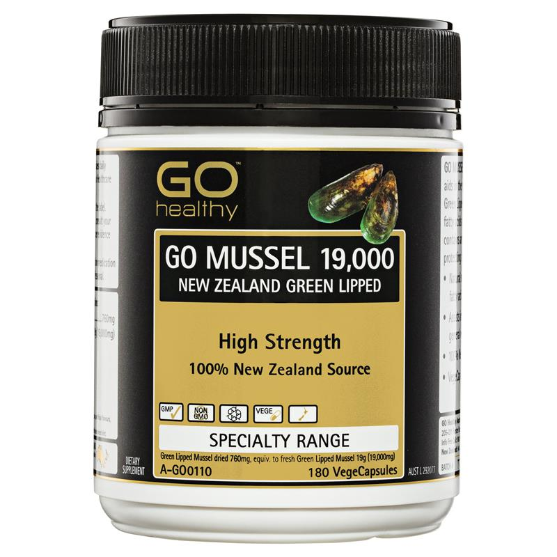 GO Healthy Mussel 750mg NZ Green Lipped 180 Vege Capsules | Tuggl