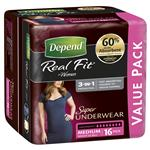 Depend Women Real Fit Underwear Super Medium 16 Bulk Pack