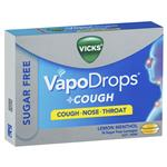 Vicks VapoDrops + Cough Sugar Free Lemon Menthol 16 Lozenges