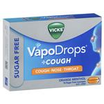 Vicks VapoDrops + Cough Sugar Free Orange Menthol 16 Lozenges