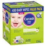 Curash Babycare Aloe Vera & Chamomile Wipes 6 x 80