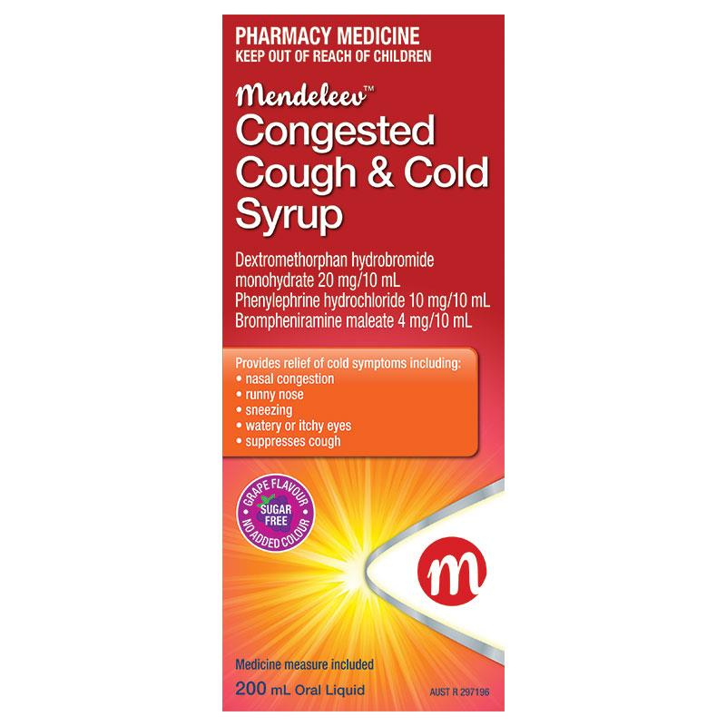 Buy Mendeleev Congested Cough & Cold Syrup 200ml Online at