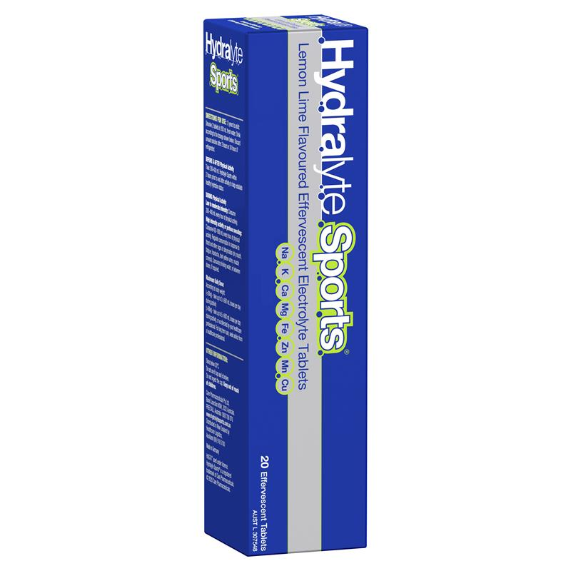 Hydralyte Sports Lemon Lime 20 Effervescent Tablets