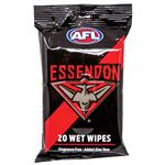 AFL Wet Wipes Essendon Bombers 20 Pack