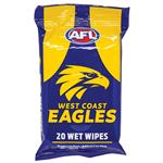 AFL Wet Wipes West Coast Eagles 20 Pack