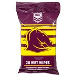 NRL Wet Wipes Brisbane Broncos 20 Pack