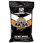 NRL Wet Wipes West Tigers 20 Pack