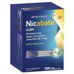 Nicabate Gum 4mg Extra Fresh 100 Pieces