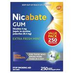 Nicabate Gum 4mg Extra Fresh 250 Pieces Exclusive Size