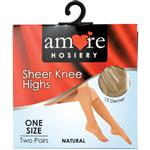 Amore Hosiery Knee High Natural 15 Denier One Size 2 Pack