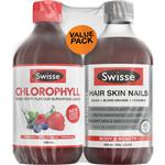 Swisse Hair Skin & Nails 500ml + Chlorophyll 500ml Value Pack