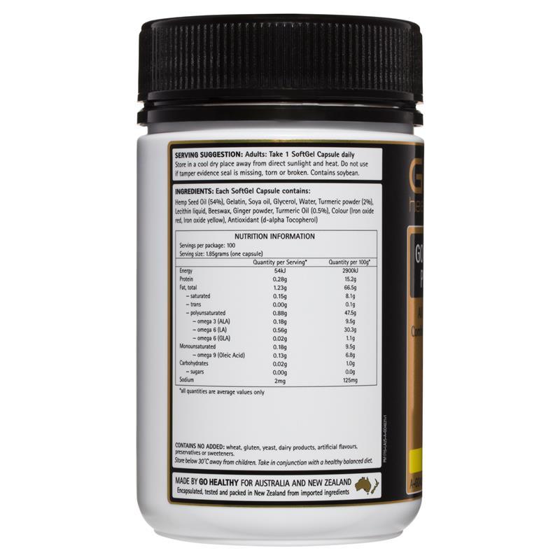 Buy GO Healthy Hemp Seed Oil Plus Turmeric 100 SoftGel ...
