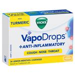 Vicks VapoDrops + Anti-Inflammatory Lemon Menthol 36 Lozenges