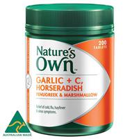 Nature's Own Garlic + C, Horseradish with Fenugreek & Marshmallow 200 Tablets