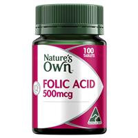 Nature's Own Folic Acid 500mcg 100 Tablets