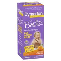 Dymadon Pain & Fever Relief for Babies Ages 1 month - 2 years 60ml