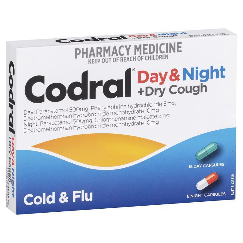 Buy Codral PE Cold & Flu + Cough Day & Night 24 Capsules