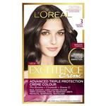 L'Oreal Paris Excellence Permanent Hair Colour - 3 Darkest Brown (100% Grey Coverage)