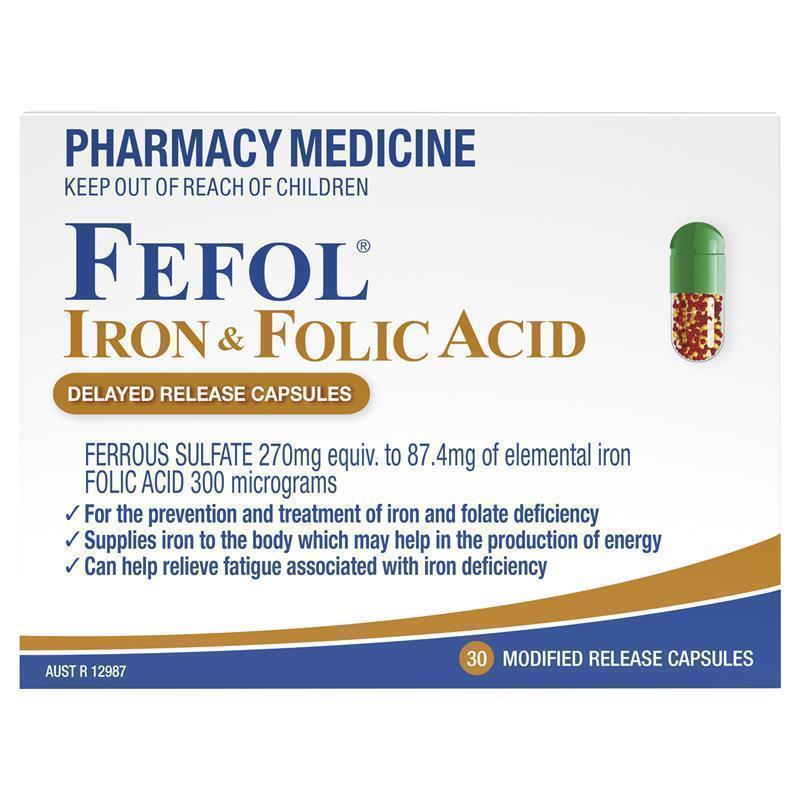 Fefol Iron & Folate Supplement Capsules 30 - ePharmacy