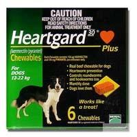 Heartgard 30 Plus Chewables for dogs 12-22 kg (Green) 6 pack