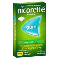Nicorette Extra Strength (4mg) Freshmint 30 Chewing Gum
