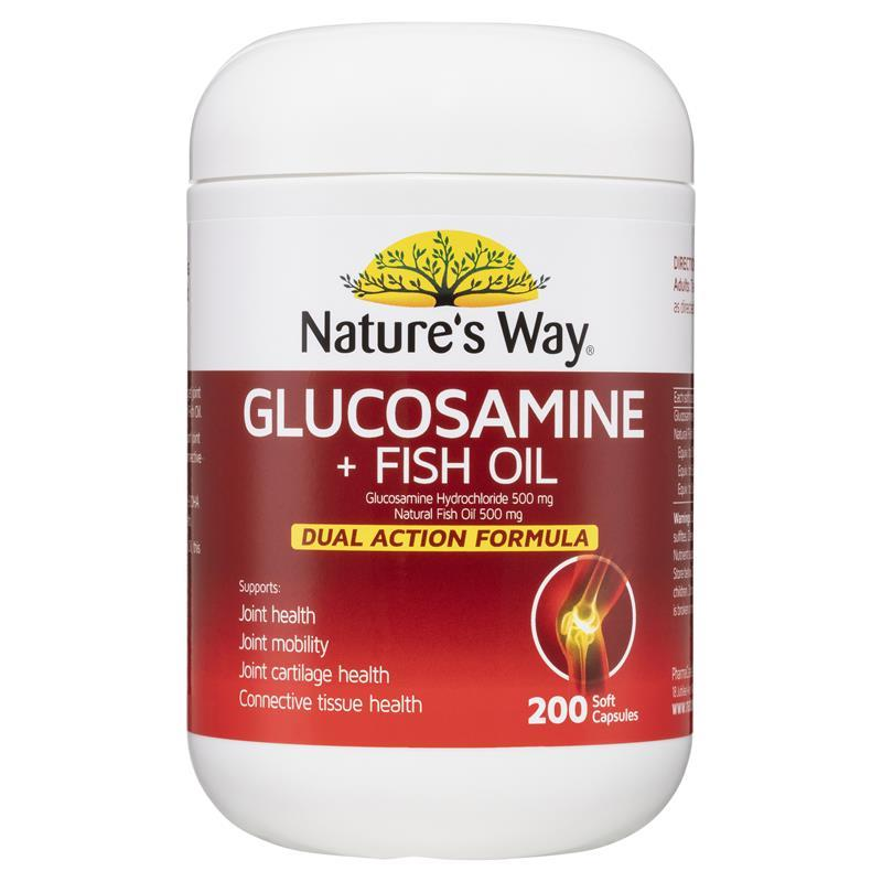 Buy nature 39 s way glucosamine 500mg fish oil 500mg 200 for Fish oil 500mg