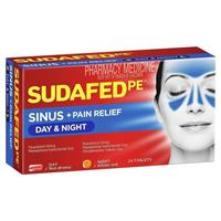 Sudafed PE Sinus Day and Night Relief 24 Tablets