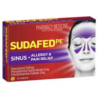 Sudafed PE Sinus and Allergy Pain Relief 24 Tablets