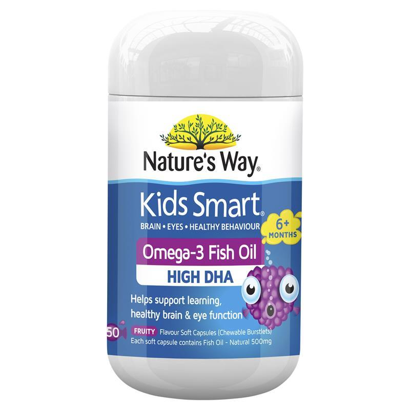Nature 39 s way kids smart omega 3 fish oil fruity flavour 50 for Does fish oil help your hair grow