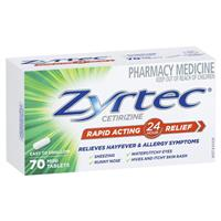 Zyrtec Hayfever Rapid Acting Tablets 10mg 70 Pack