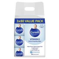 Curash Baby Wipes Original Vitamin E 3 x 80 Bulk Pack