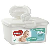Huggies Baby Wipes Unscented 80 Tub