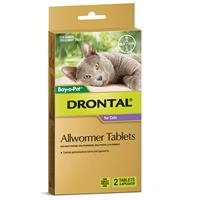 Drontal Cat Allwormer 2 Tablets + Applicator