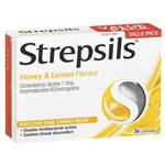 Strepsils Throat Lozenges Soothing Honey & Lemon 36 Pack
