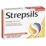 Strepsils Soothing Lozenges Orange 36pk Sore Throat Double Antibacterial