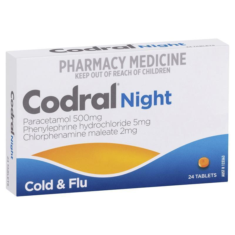 Buy Codral PE Night Time 24 Tablets Online At Chemist