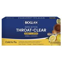 Bioglan Throat Clear Honey & Lemon 20 Lozenges