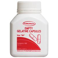 Surgipack Empty Gelatine Capsules Size '00' 100 pack