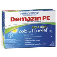 Demazin PE Cold & Flu Day & Night Relief 24 Tablets