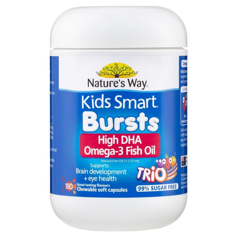 Nature 39 s way kids smart omega 3 fish oil trio 180 capsules for Does fish oil help hair