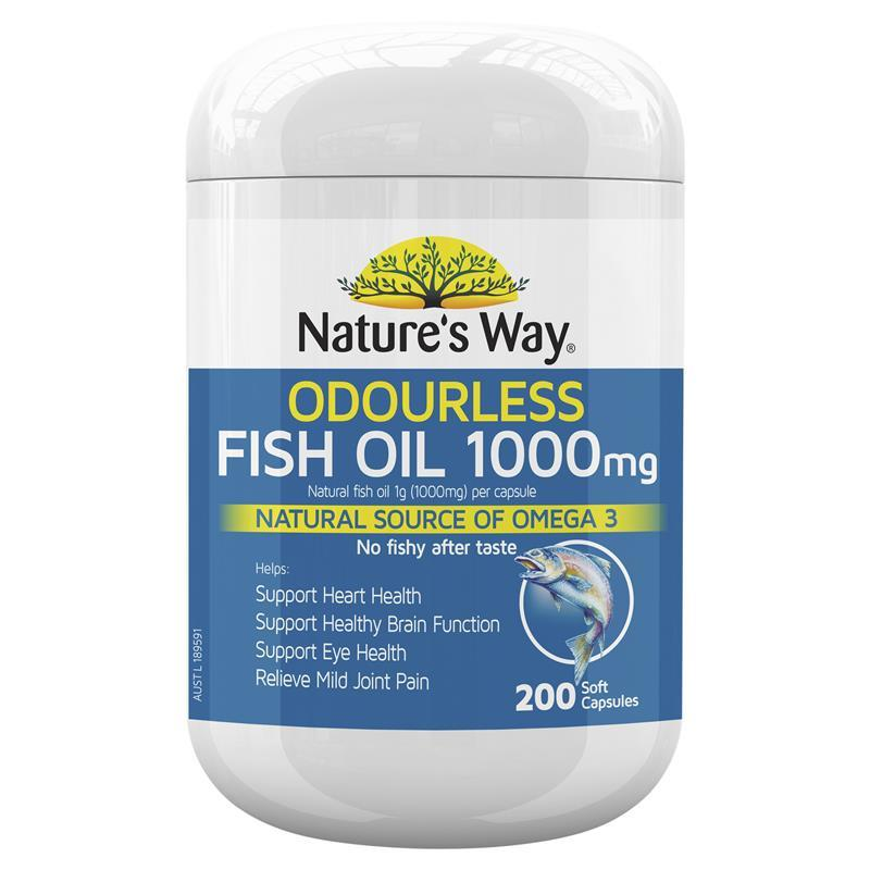 Nature 39 s way fish oil 1000mg 200 capsules chemist warehouse for Fish oil pills