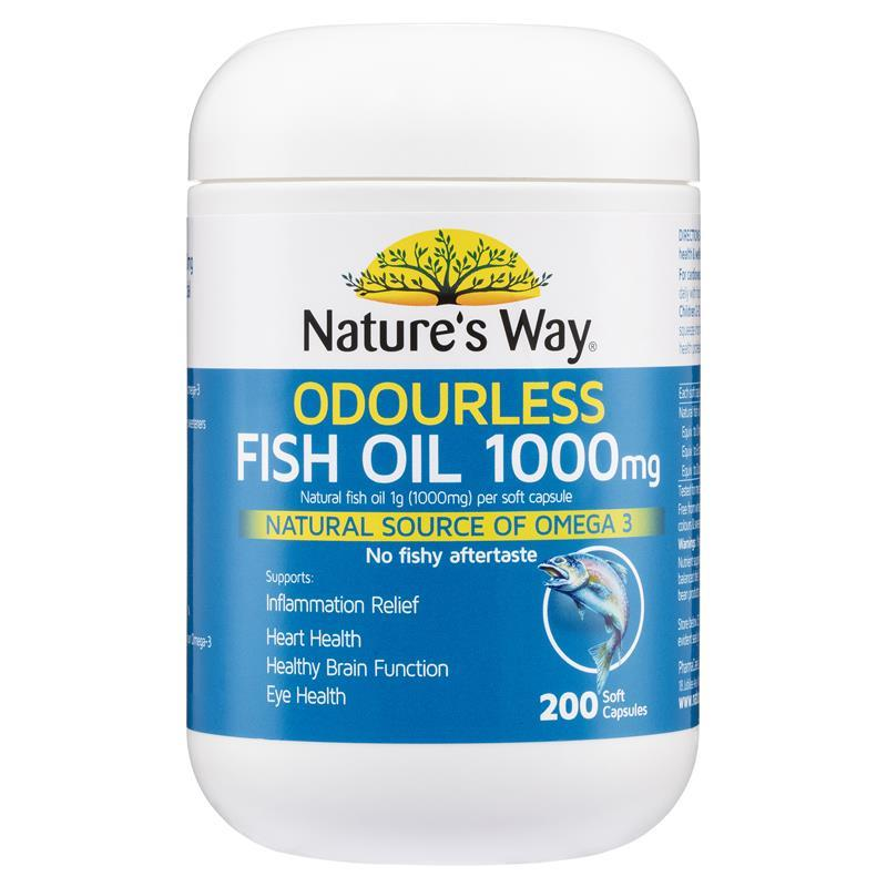 Nature 39 s way fish oil 1000mg 200 capsules chemist warehouse for Fish oil supplement dosage